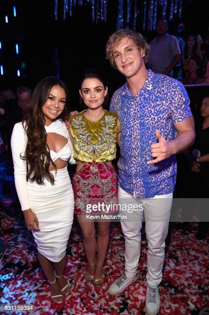 Janel Parrish Lucy Hale and Logan Paul attend Teen Choice Awards 2017 at Galen Center on August 13 2017 in Los Angeles California
