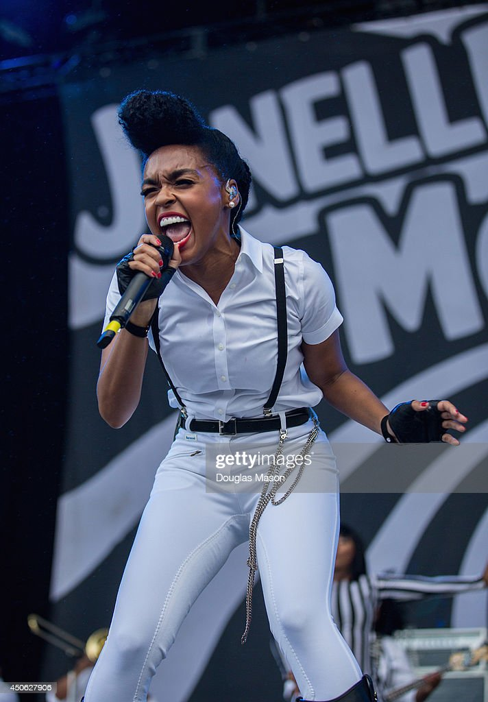 Janell Monae performs during the 2014 Bonnaroo Music & Arts Festival on June 13, 2014 in Manchester, Tennessee.