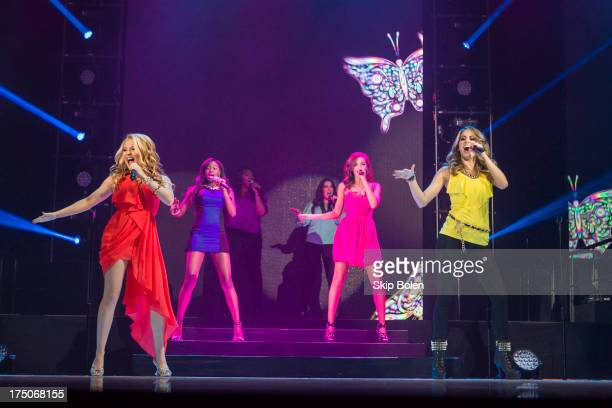 Janelle Arthur Amber Holcomb Candice Glover Kree Harrison Aubrey Cleland and Angie Miller perform during American Idol Live 2013 at UNO Lakefront...