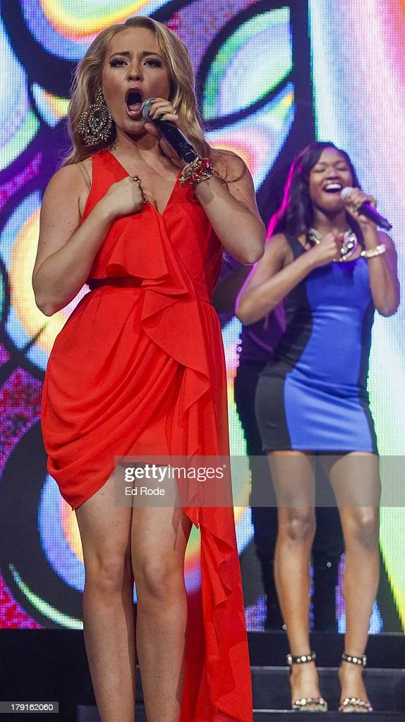 Janelle Arthur and Amber Holcomb perform during American Idol Live! 2013 at Bridgestone Arena on August 31, 2013 in Nashville, Tennessee.