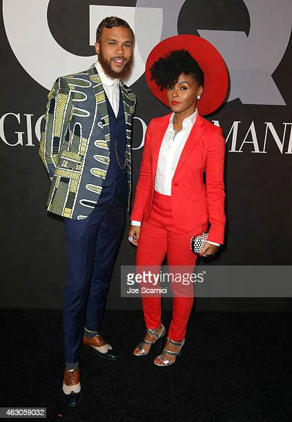 Janelle Monae and guest attend GQ and Giorgio Armani Grammys After Party at Hollywood Athletic Club on February 8 2015 in Hollywood California