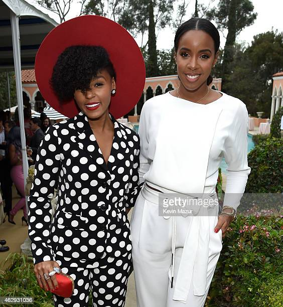 Janelle Monae and Kelly Rowland attend the Roc Nation and Three Six Zero PreGRAMMY Brunch at Private Residence on February 7 2015 in Beverly Hills...