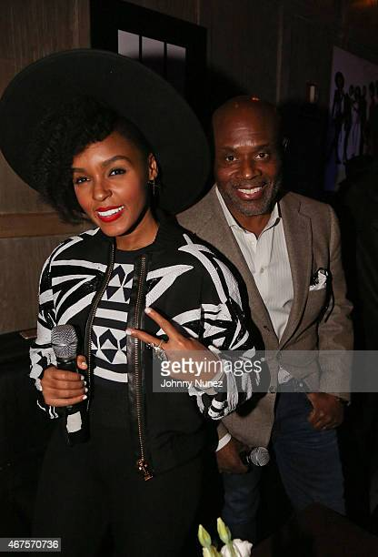 Janelle Monae and LA Reid attend The Eephus Listening Event at Avenue on March 25 2015 in New York City