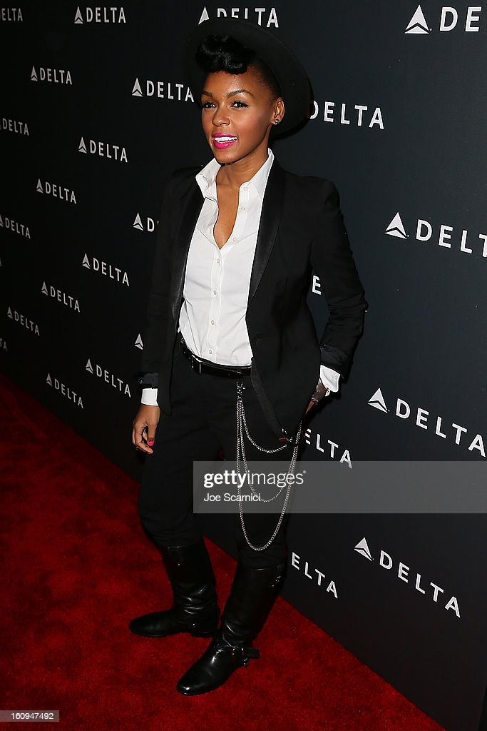 <a gi-track='captionPersonalityLinkClicked' href=/galleries/search?phrase=Janelle+Monae&family=editorial&specificpeople=715847 ng-click='$event.stopPropagation()'>Janelle Monae</a> arrives at Delta Air Lines' GRAMMY Celebration At Getty House on February 7, 2013 in Los Angeles, California.