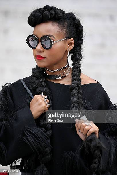 Janelle Monae arrives at the Stella McCartney show as part of the Paris Fashion Week Womenswear Spring/Summer 2016 on October 5 2015 in Paris France