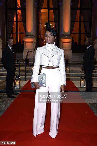 Janelle Monae attends a cocktail party hosted by the US Ambassador to France and Monaco to celebrate ELLE US's 30th Anniversary ELLE France's 70th...