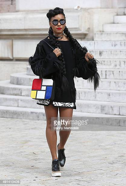 Janelle Monae attends Stella McCartney show at the Opera on October 5 2015 in Paris France