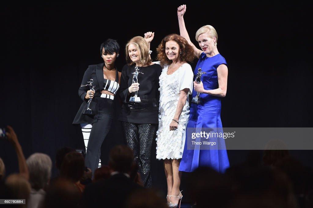 Janelle Monae, Gloria Steinem, Diane von Furstenberg and Cecile Richards pose onstage during the 2017 CFDA Fashion Awards at Hammerstein Ballroom on June 5, 2017 in New York City.