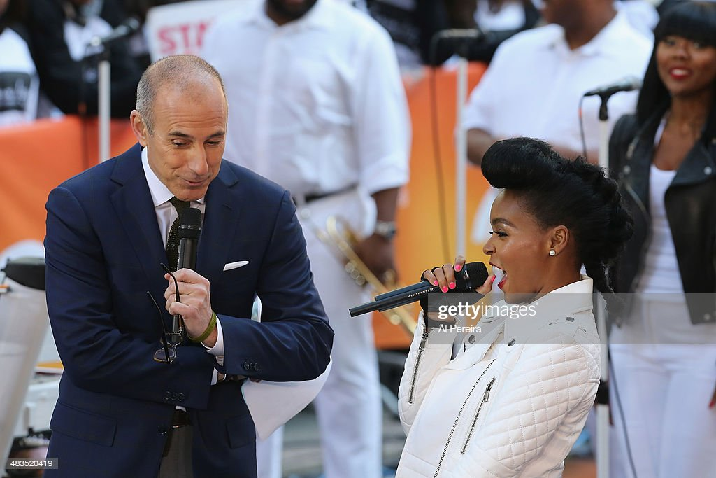 <a gi-track='captionPersonalityLinkClicked' href=/galleries/search?phrase=Janelle+Monae&family=editorial&specificpeople=715847 ng-click='$event.stopPropagation()'>Janelle Monae</a> is interviewed by 'Today Show' host <a gi-track='captionPersonalityLinkClicked' href=/galleries/search?phrase=Matt+Lauer&family=editorial&specificpeople=206146 ng-click='$event.stopPropagation()'>Matt Lauer</a> when she performs on NBC's 'Today' at Rockefeller Plaza on April 9, 2014 in New York City.