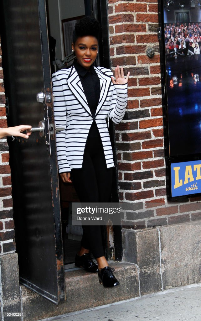 <a gi-track='captionPersonalityLinkClicked' href=/galleries/search?phrase=Janelle+Monae&family=editorial&specificpeople=715847 ng-click='$event.stopPropagation()'>Janelle Monae</a> leaves the 'Late Show with David Letterman' at Ed Sullivan Theater on June 11, 2014 in New York City.