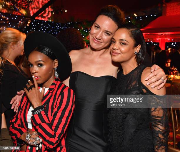 Janelle Monae Lisa Joy and Tessa Thompson attend the HBO's Official 2017 Emmy After Party at The Plaza at the Pacific Design Center on September 17...