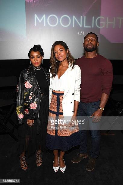 Janelle Monae Naomie Harris and Trevante Rhodes attend 'Moonlight' Atlanta screening at AMC Phipps Plaza on October 18 2016 in Atlanta Georgia