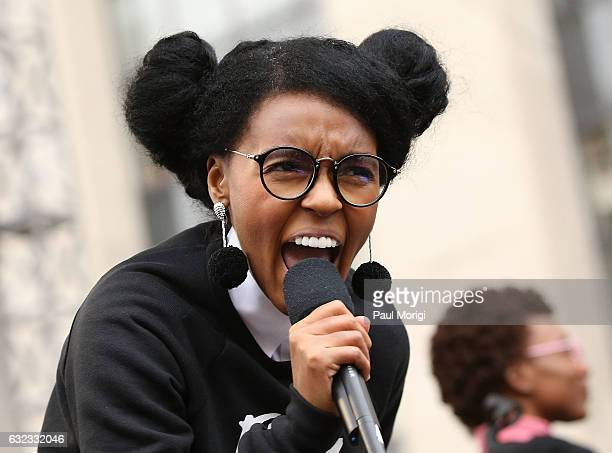 Janelle Monae peforms at the rally at the Women's March on Washington on January 21 2017 in Washington DC