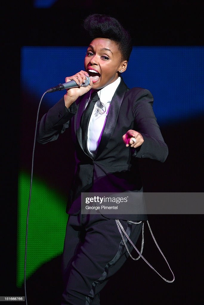 <a gi-track='captionPersonalityLinkClicked' href=/galleries/search?phrase=Janelle+Monae&family=editorial&specificpeople=715847 ng-click='$event.stopPropagation()'>Janelle Monae</a> performs at Fashion Cares: A Night Of Glitter & Light Featuring Elton John - Show at Sony Centre For Performing Arts on September 9, 2012 in Toronto, Canada.