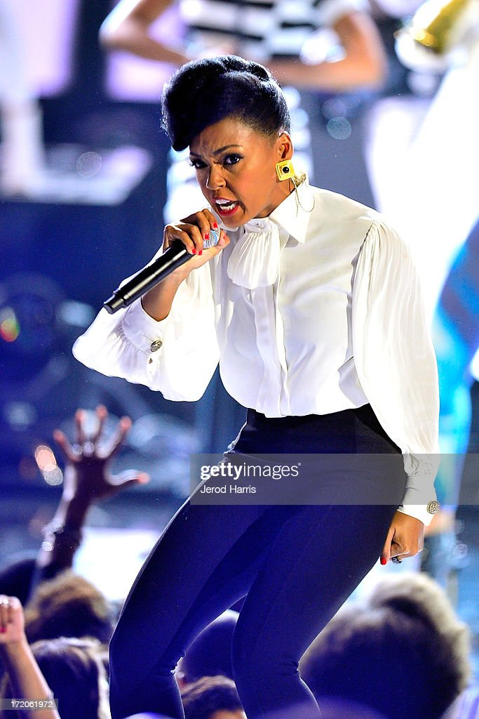 Janelle Monae performs during the 2013 BET Awards at Nokia Plaza L.A. LIVE on June 30, 2013 in Los Angeles, California.