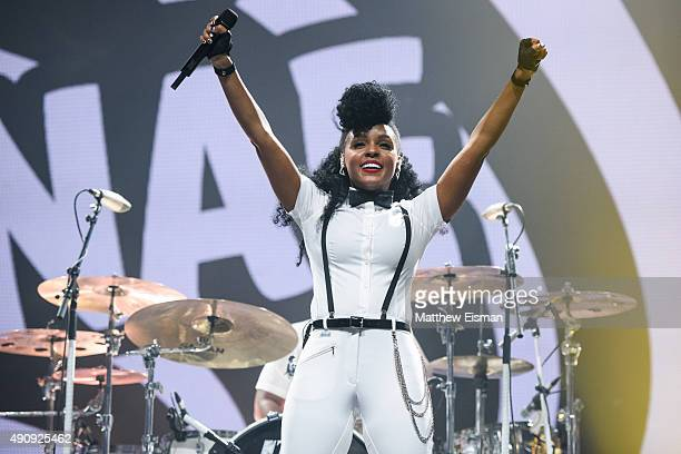Janelle Monae performs live at Madison Square Garden on October 1 2015 in New York City