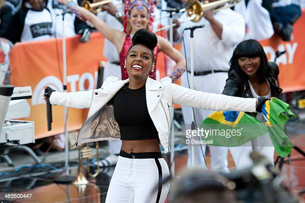 Janelle Monae performs on NBC's 'Today' at Rockefeller Plaza on April 9 2014 in New York City