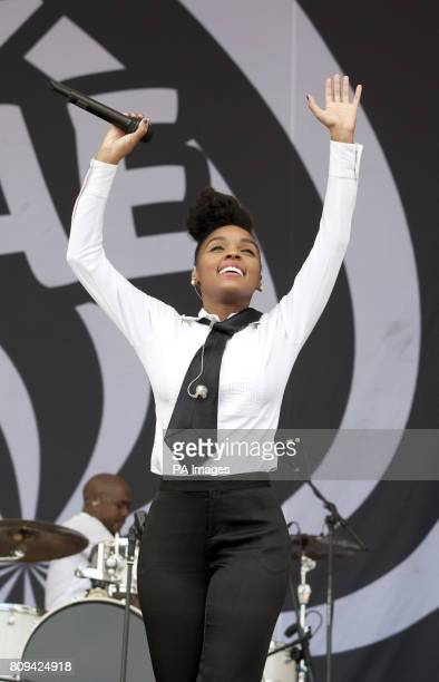 Janelle Monae performs on stage with The Bullitts at the Big Chill Festival 2011 at Eastnor Castle Deer Park in HerefordshirePicture date Saturday...