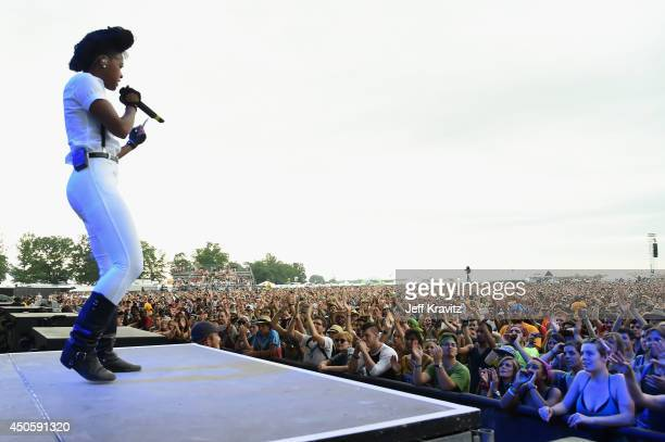Janelle Monae performs onstage at What Stage during day 2 of the 2014 Bonnaroo Arts And Music Festival on June 13 2014 in Manchester Tennessee