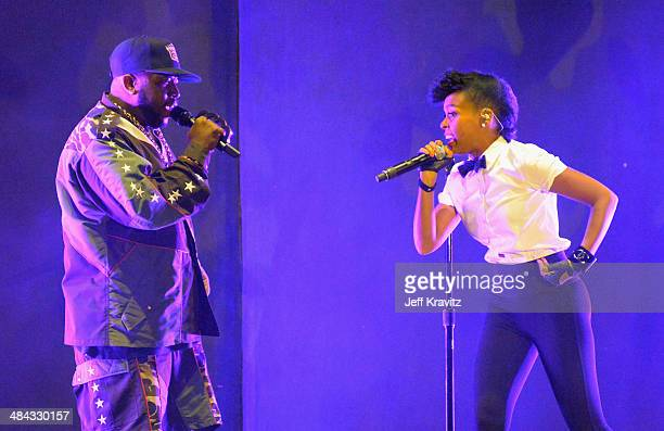 Janelle Monae performs onstage with Big Boi of Outkast during day 1 of the 2014 Coachella Valley Music Arts Festival at the Empire Polo Club on April...