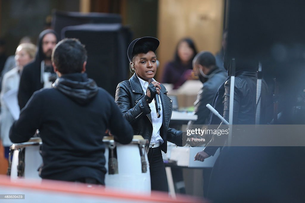<a gi-track='captionPersonalityLinkClicked' href=/galleries/search?phrase=Janelle+Monae&family=editorial&specificpeople=715847 ng-click='$event.stopPropagation()'>Janelle Monae</a> runs through sound-check when she performs on NBC's 'Today' at Rockefeller Plaza on April 9, 2014 in New York City.