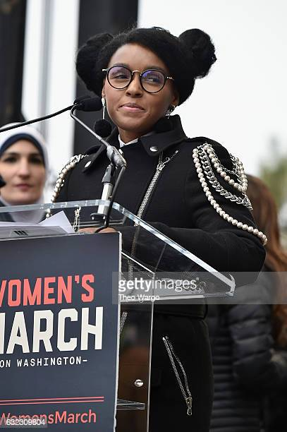 Janelle Monae speaks onstage the Women's March on Washington on January 21 2017 in Washington DC