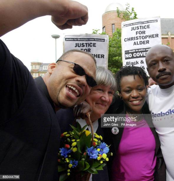Janet Alder centre right who has campaigned for justice in the death of her brother Christopher Alder a black former paratrooper who died in...