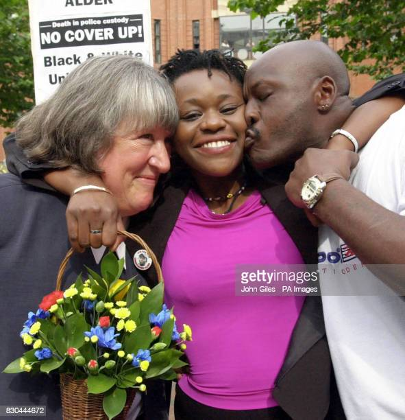Janet Alder centre who has campaigned for justice for the death of her brother Christopher Alder a black former paratrooper who died in handcuffs in...