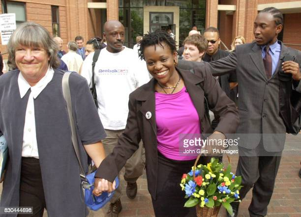 Janet Alder centre who has campaigned for justice in the death of her brother Christopher Alder a black former paratrooper who died in handcuffs in...