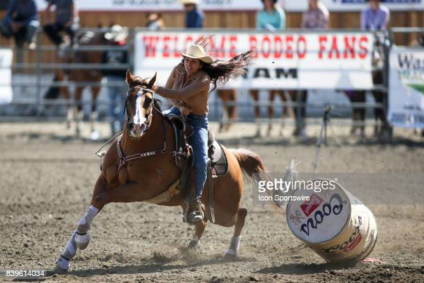 Janet Cunningham from Aldergrove BC scored a 2313 in the Slack Barrel Racing competition on August 25 2017 at the Kitsap County Fair and Stampede in...