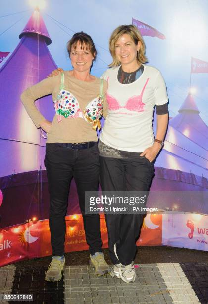 Janet Ellis and Penny Smith at the start of the Moonwalk London at Battersea Power Station London
