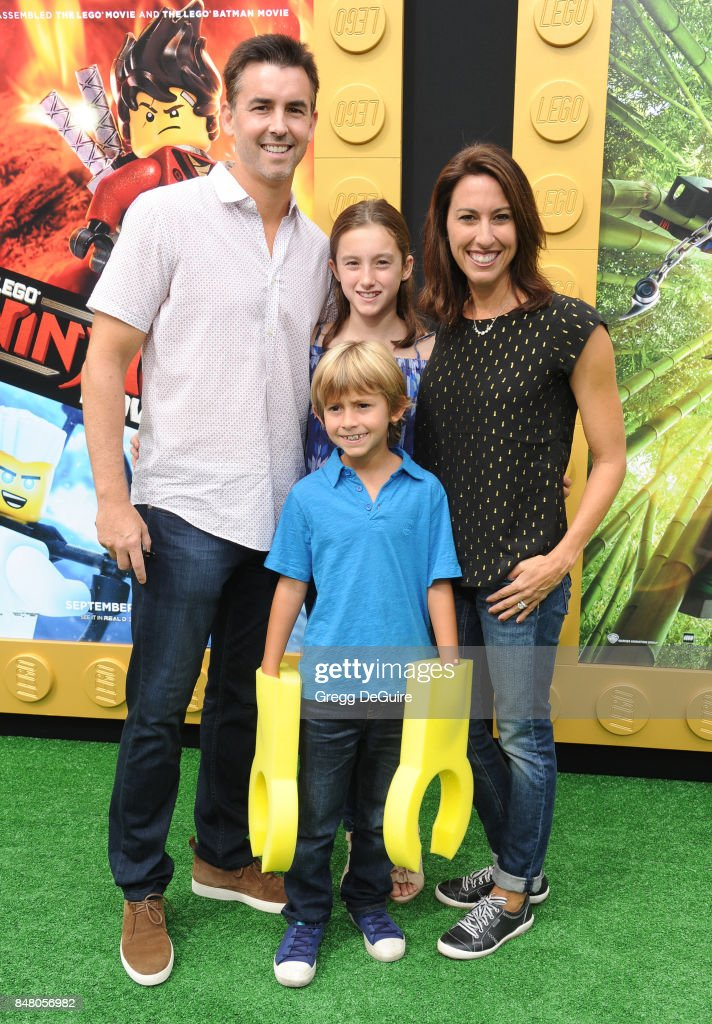 Janet Evans, husband Bill Willson and children arrive at the premiere of Warner Bros. Pictures' 'The LEGO Ninjago Movie' at Regency Village Theatre on September 16, 2017 in Westwood, California.