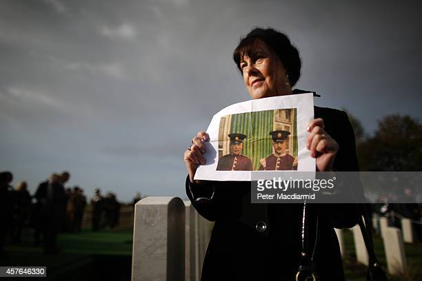 Janet Greatwood holds a photograph her Great Uncles Charles Warr and Lance Corporal William Henry Warr Willaim was buried today in a ceremony at the...