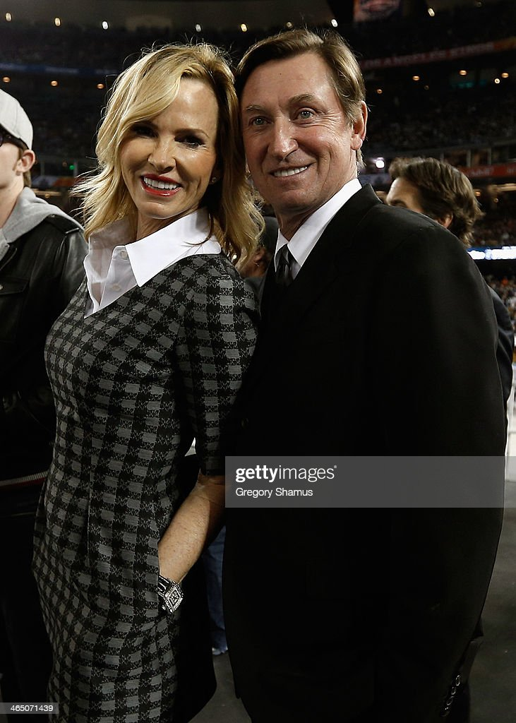 Janet Gretzky and Wayne Gretzky attend the 2014 Coors Light NHL Stadium Series between the Los Angeles Kings and the Anaheim Ducks at Dodger Stadium on January 25, 2014 in Los Angeles, California.