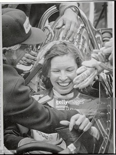 Janet Guthrie is seen here as she receives congratulations from her car owner Rolla Vollstedt as she completed her rookies test at the Indianapolis...