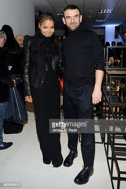 Janet Jackson and Francesco Russo attend the Sergio Rossi presentation cocktail during Milan Fashion Week Womenswear Fall/Winter 2013/14 on February...