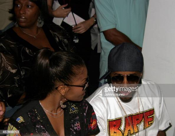 Janet Jackson and Jermaine Dupri during Olympus Fashion Week Spring 2005 Baby Phat Front Row at Skylight Studio in New York City New York United...