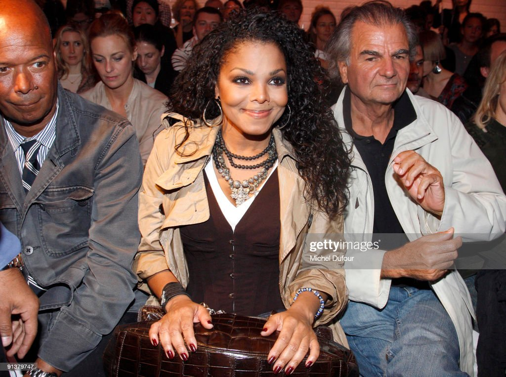 Janet Jackson and Patrick Demarchelier attend the JeanPaul Gaultier Pret a Porter show during Paris Womenswear Fashion Week Spring/Summer 2010 at...