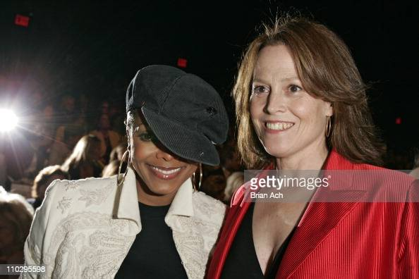 Janet Jackson and Sigourney Weaver during Olympus Fashion Week Spring 2007 Bill Blass Front Row and Backstage at Bryant Park in New York City New...