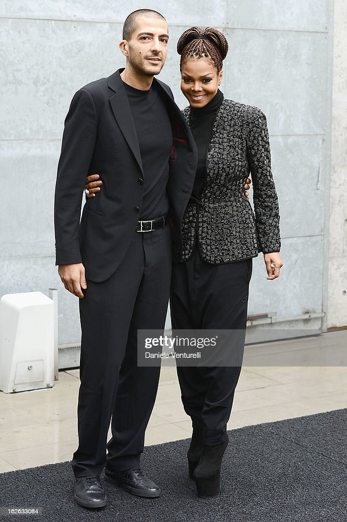 <a gi-track='captionPersonalityLinkClicked' href=/galleries/search?phrase=Janet+Jackson&family=editorial&specificpeople=156414 ng-click='$event.stopPropagation()'>Janet Jackson</a> and Wissam al Mana attend the Giorgio Armani fashion show during Milan Fashion Week Womenswear Fall/Winter 2013/14 on February 25, 2013 in Milan, Italy.