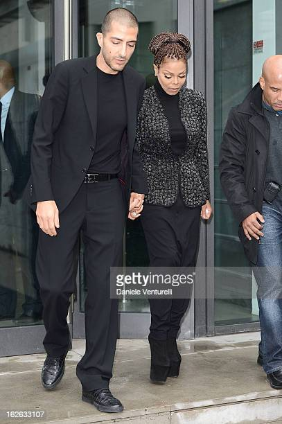 Janet Jackson and Wissam al Mana attend the Giorgio Armani fashion show during Milan Fashion Week Womenswear Fall/Winter 2013/14 on February 25 2013...