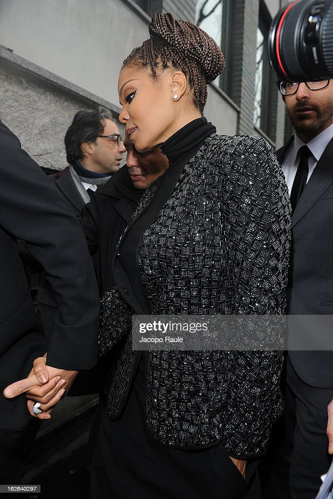 Janet Jackson arrives at the Giorgio Armani fashion show as part of Milan Fashion Week Womenswear Fall/Winter 2013/14 on February 25, 2014 in Milan, Italy.