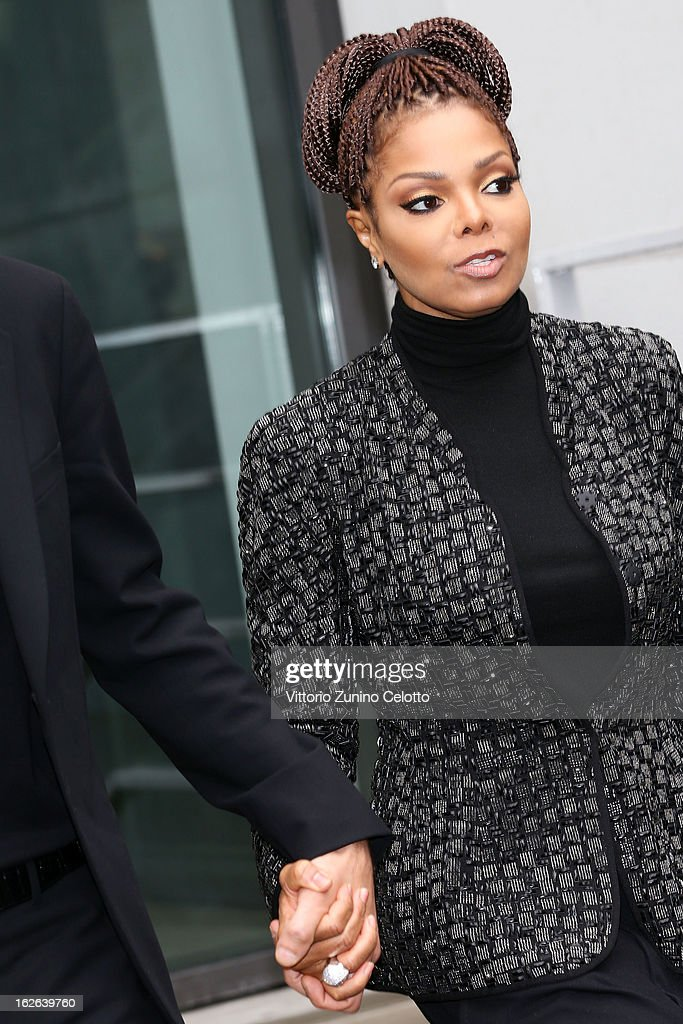 Janet Jackson attends the Giorgio Armani fashion show as part of Milan Fashion Week Womenswear Fall/Winter 2013/14 on February 25, 2014 in Milan, Italy.