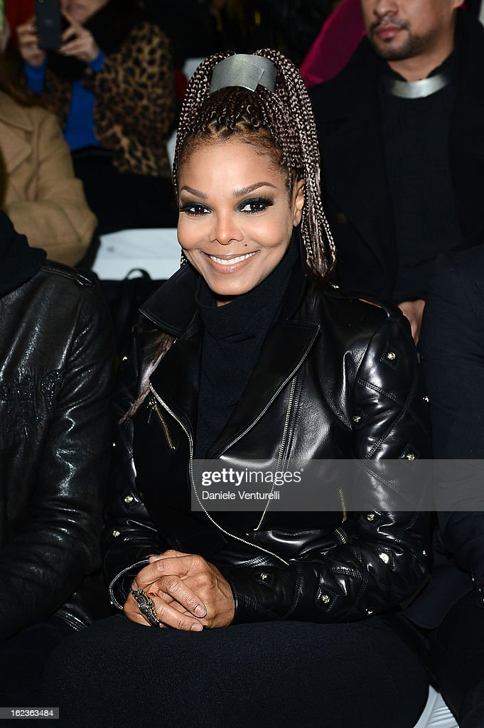 Janet Jackson attends the Versace fashion show during Milan Fashion Week Womenswear Fall/Winter 2013/14 on February 22, 2013 in Milan, Italy.
