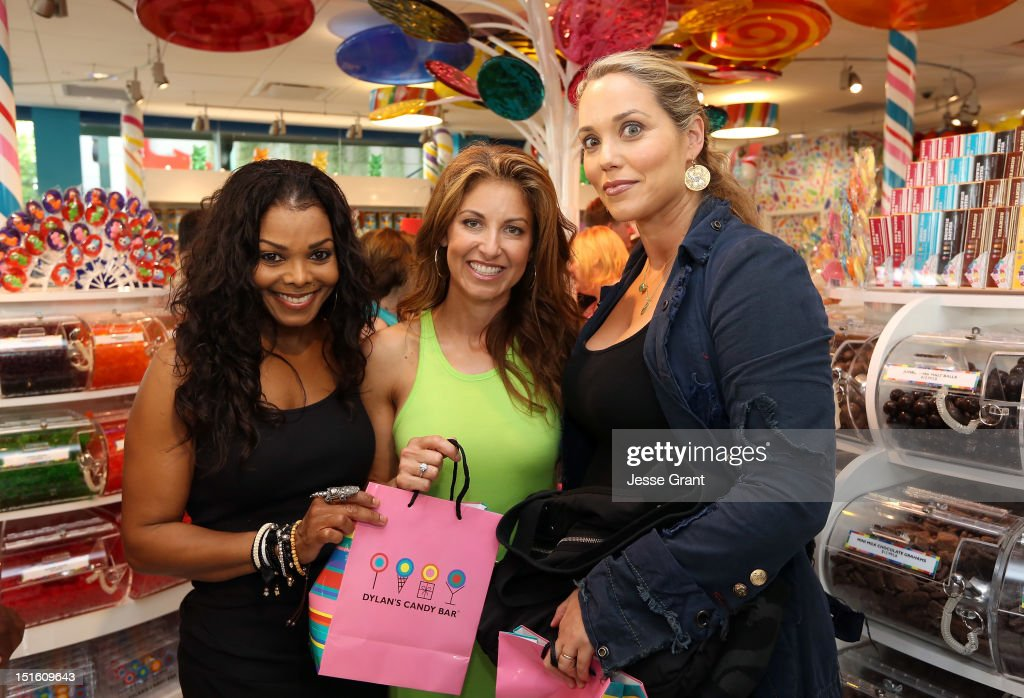 <a gi-track='captionPersonalityLinkClicked' href=/galleries/search?phrase=Janet+Jackson&family=editorial&specificpeople=156414 ng-click='$event.stopPropagation()'>Janet Jackson</a>, Dylan's Candy Bar CEO/Founder <a gi-track='captionPersonalityLinkClicked' href=/galleries/search?phrase=Dylan+Lauren&family=editorial&specificpeople=243055 ng-click='$event.stopPropagation()'>Dylan Lauren</a> and Elizabeth Berkley attend the Dylan's Candy Bar Los Angeles Opening at the Original Farmers Market on September 8, 2012 in Los Angeles, California.