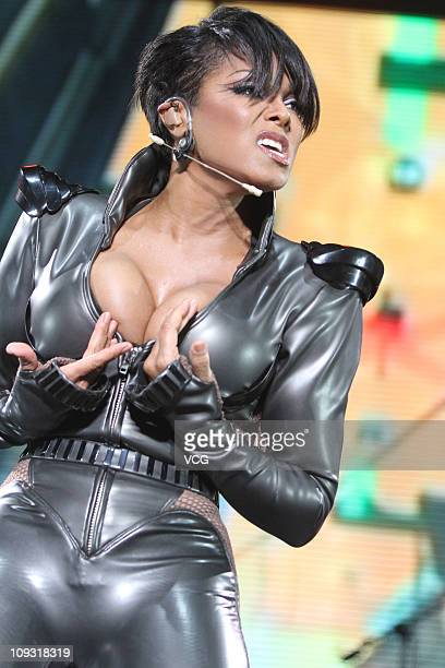 Janet Jackson performs on stage during her concert at Taipei World Trade Center Nangang Exhibition Hall on February 18 2011 in Taipei Taiwan of China