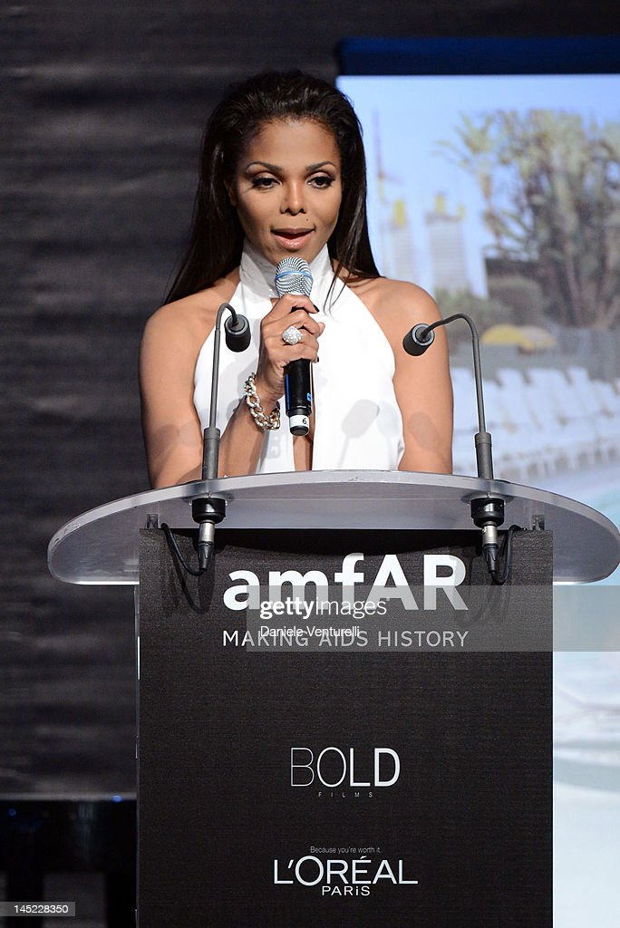 Janet Jackson speaks at the 2012 amfAR's Cinema Against AIDS during the 65th Annual Cannes Film Festival at Hotel Du Cap on May 24, 2012 in Cap D'Antibes, France.