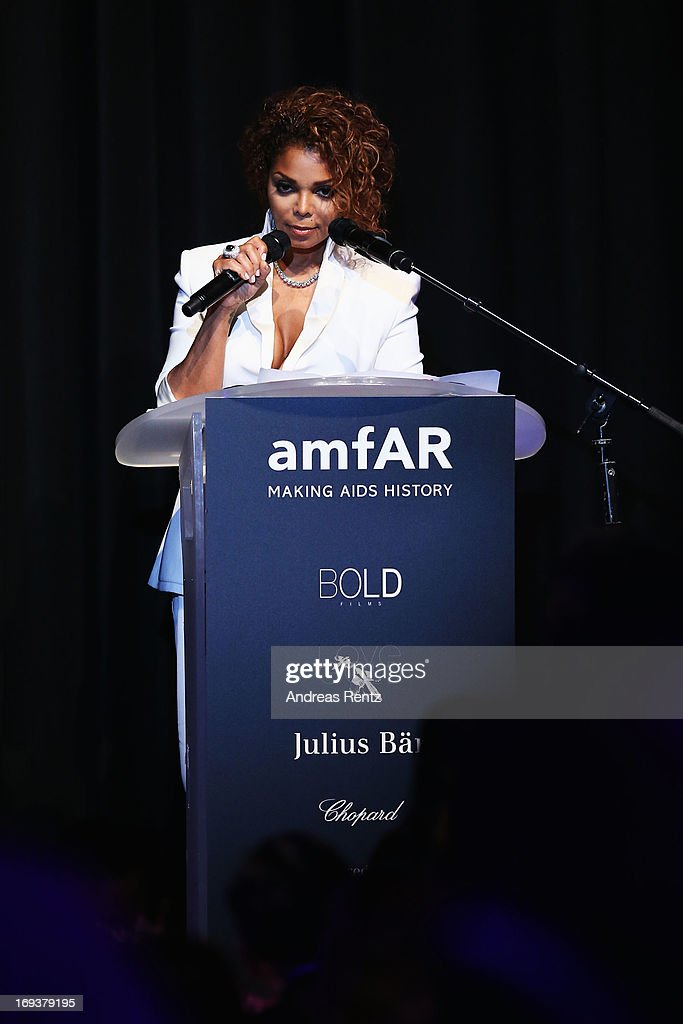 Janet Jackson speaks on stage at amfAR's 20th Annual Cinema Against AIDS during The 66th Annual Cannes Film Festival at Hotel du Cap-Eden-Roc on May 23, 2013 in Cap d'Antibes, France.