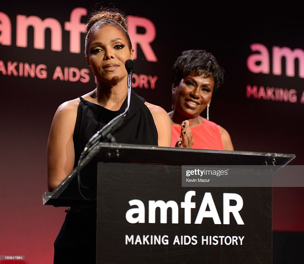 <a gi-track='captionPersonalityLinkClicked' href=/galleries/search?phrase=Janet+Jackson&family=editorial&specificpeople=156414 ng-click='$event.stopPropagation()'>Janet Jackson</a> speaks on stage at the amfAR New York Gala To Kick Off Fall 2013 Fashion Week at Cipriani Wall Street on February 6, 2013 in New York City.