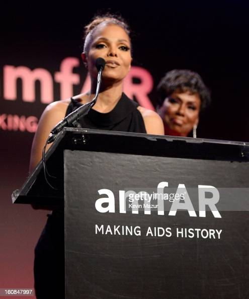 Janet Jackson speaks on stage at the amfAR New York Gala To Kick Off Fall 2013 Fashion Week at Cipriani Wall Street on February 6 2013 in New York...